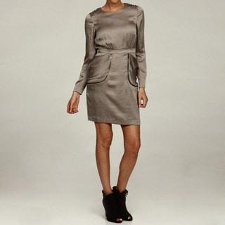 Miss Sixty Taupe Studded Shoulder Pocket Dress