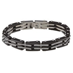 Stainless Steel Men's Black Ion-plated and Diamond-cut Bracelet