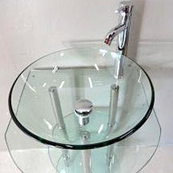 Clear Tempered Glass Pedestal Vanity and Sink Combo
