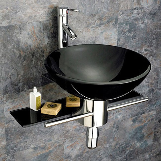 Bathroom Tempered Glass Vessel Sink and Vanity Faucet