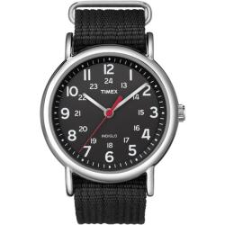 Timex Men's T2N647 Weekender Black Slip Thru Nylon Strap Watch