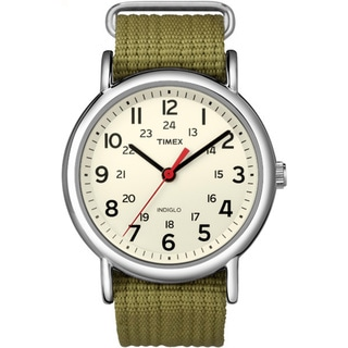 Timex Men's T2N6519J Weekender Olive Slip-through Strap Watch