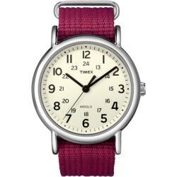 Timex T2N652KW Women's Weekender Fushia Slip Thru Nylon Strap Watch