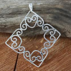 Sterling Silver Joined Spiral Hearts Square Pendant (Mexico)