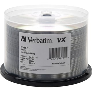 Verbatim 97283 DVD Recordable Media - DVD-R - 16x - 4.70 GB - 50 Pack