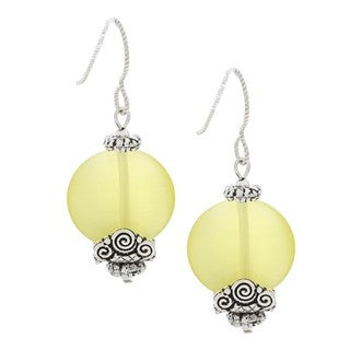 MSDjCASANOVA Tierracast Lemon Yellow Fiber Optic Bead Earrings