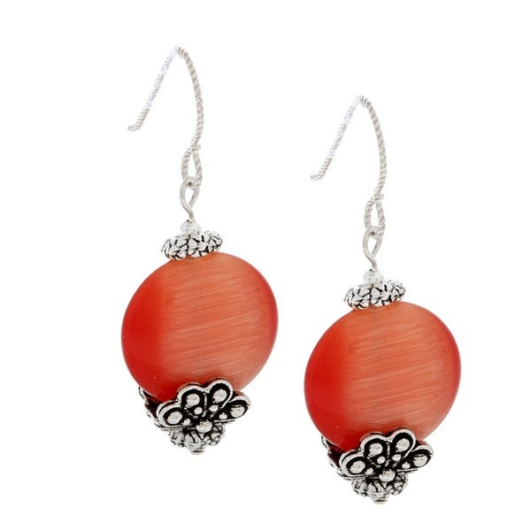 MSDjCASANOVA Tierracast Dark Peach Fiber Optic Bead Earrings
