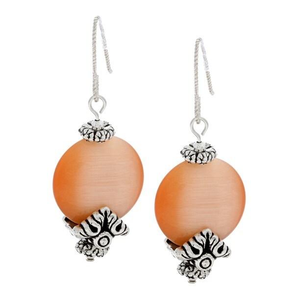 MSDjCASANOVA Tierracast Light Peach Fiber Optic Bead Earrings