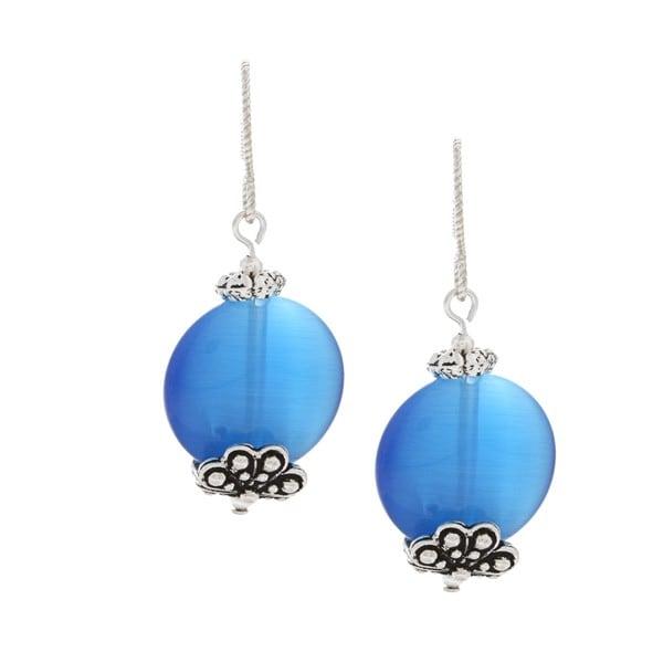 MSDjCASANOVA Tierracast Sea Blue Fiber Optic Bead Earrings