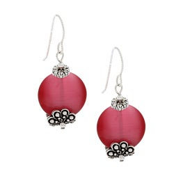 MSDjCASANOVA Tierracast Dark Pink Fiber Optic Bead Earrings