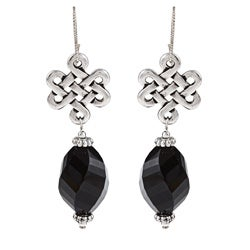 MSDjCASANOVA Silverplated Infinity Onyx Earrings