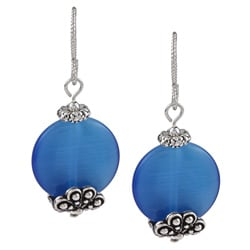 MSDjCASANOVA Tierracast Sky Blue Fiber Optic Bead Earrings