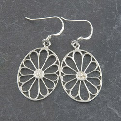 Sterling Silver 'Flower' Dangle Earrings (Thailand)