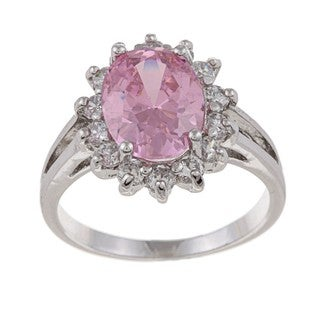 La Preciosa Sterling Silver Pink-and-clear Oval-cut Cubic Zirconia Ring
