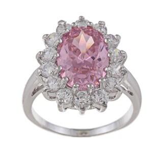 La Preciosa Sterling Silver Pink-and-clear Round-cut Cubic Zirconia Ring