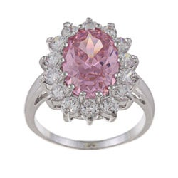La Preciosa Sterling Silver Pink-and-clear Round-cut Cubic Zirconia Ring