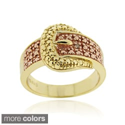 DB Designs Gold over Silver Champagne Diamond Buckle Ring