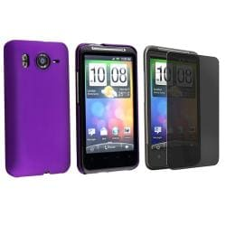 2-piece Purple snap-on Case/ Privacy Screen Filter for HTC Inspire 4G