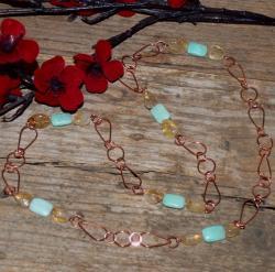 Susen Foster Copper Sands of Peru Peruvian Blue Opal/ Citrine Necklace