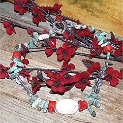 Susen Foster Silverplated Sonoran Summer Turquoise and Coral Necklace