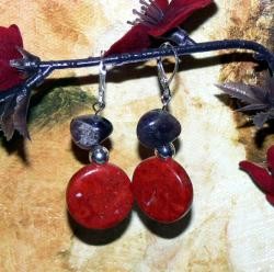 Susen Foster Silvertone Mad Hatters Coral and Amethyst Earrings
