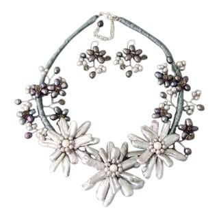 Stick Silver Pearl Triple Flower Vine Jewelry Set (5-25 mm) (Thailand)