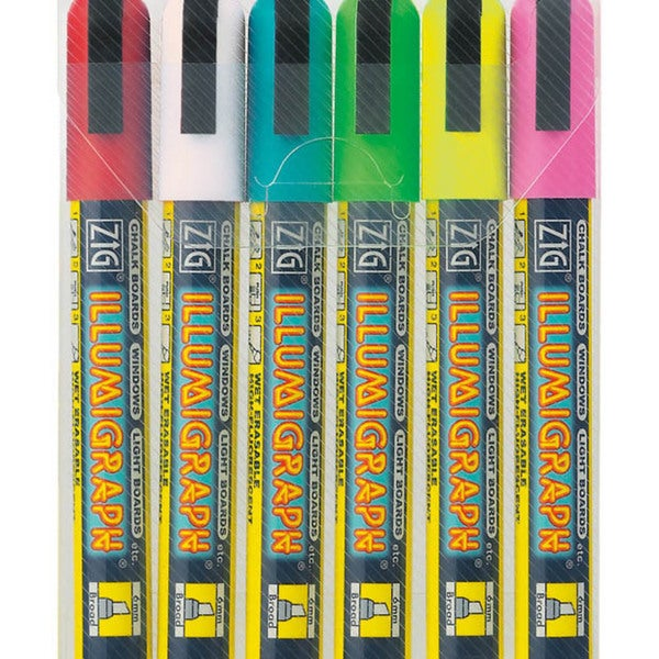 Zig Illumigraph Wet-erasable Broad-tip Markers (Pack of Six)