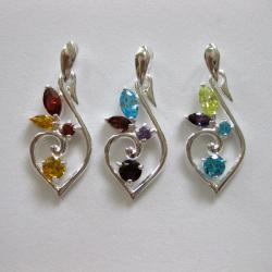 Sterling Silver Curvy and Colorful Cubic Zirconia Necklace (Thailand)