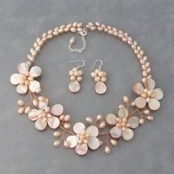 Pink Pearl and Mother of Pearl Floral Jewelry Set (3-7 mm) (Thailand)