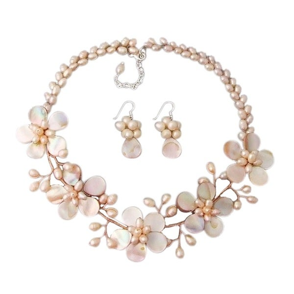 pink pearl and of pearl floral jewelry set 3 7 mm