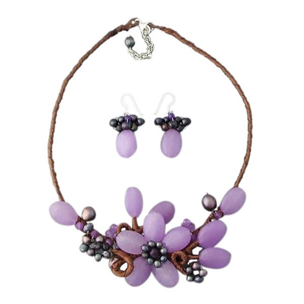 Agate/ Amethyst/ Pearl Floral Sweet Jewelry Set (3-11 mm) (Thailand)