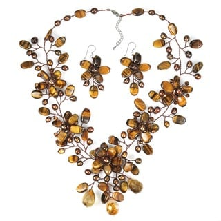 Tiger's Eye and Pearl Brown and Bronze Jewelry Set (3-7 mm) (Thailand)
