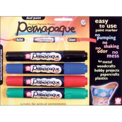 Permapaque Dual-point Multicolor Carded Paint Markers (Set of 4)