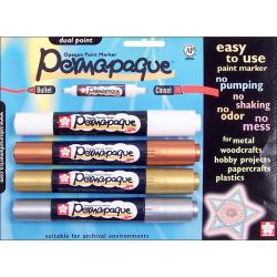Permapaque Dual-point Multicolor Metallic Carded Paint Markers (Set of 4)