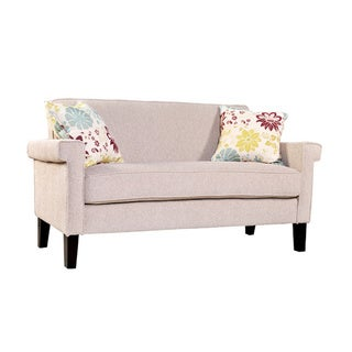 angelo:HOME Ennis Cream Chenille Sofa with Spring Sandstone Beige and Blue Floral Pillows