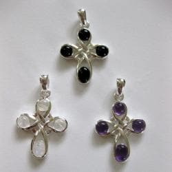 Sterling Silver Celtic Cross Gemstone Pendant (Thailand)