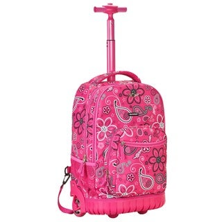 Rockland Deluxe Pink Bandana 18-inch Rolling Laptop Backpack