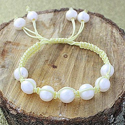 Yellow Macrame Cord Hand-knotted White FW Pearl Bracelet (12 mm) (USA)