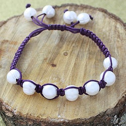 Purple Macrame Cord Hand-knotted White FW Pearl Bracelet (12 mm) (USA)