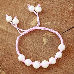 Pink Macrame Cord Hand-knotted White FW Pearl Bracelet (12 mm) (USA)