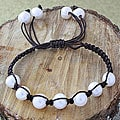 Brown Macrame Cord White Freshwater Pearl Bracelet (12 mm) (USA)