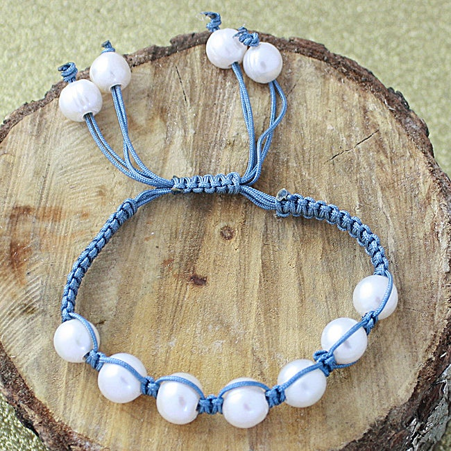 Blue-grey Macrame Cord White Freshwater Pearl Bracelet (12 mm) (USA)