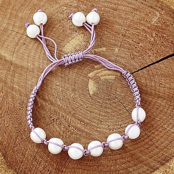 Lavender Macrame Cord White Freshwater Pearl Bracelet (12 mm) (USA)