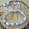 Grey Macrame Cord Hand-knotted Grey FW Pearl Bracelet (10 mm) (USA)