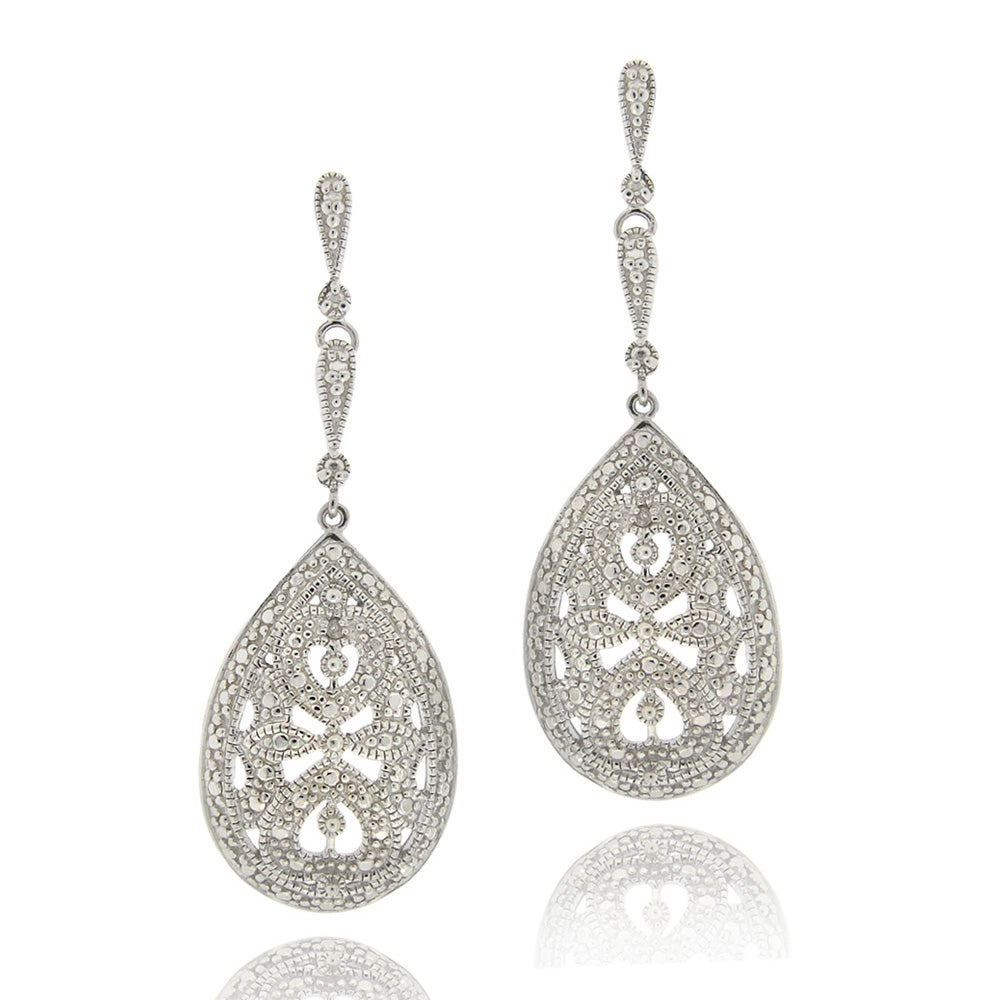DB Designs Sterling Silver Diamond Accent Teardrop Dangle Earrings