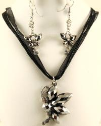 Crystal Hematite and Rhinestone Dragonfly Profile Jewelry Set