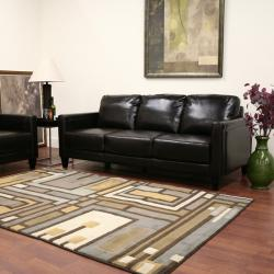 Arianna Brown Leather Sofa and Chair Set