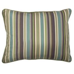 Green/Blue/Purple Stripe Corded Outdoor Pillows with Sunbrella Fabric (Set of 2)