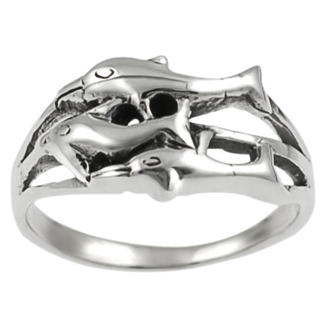 Tressa Sterling Silver Three Dolphin Ring