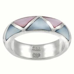 Tressa Sterling Silver Pink and Blue Mother of Pearl Ring